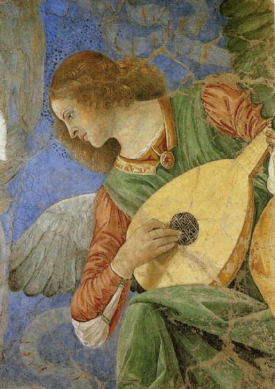 Forli, Melozzo da: Music Making Angel (Playing a Lute). Fine Art Musical Print/Poster. Sizes: A4/A3/A2/A1 (00521)